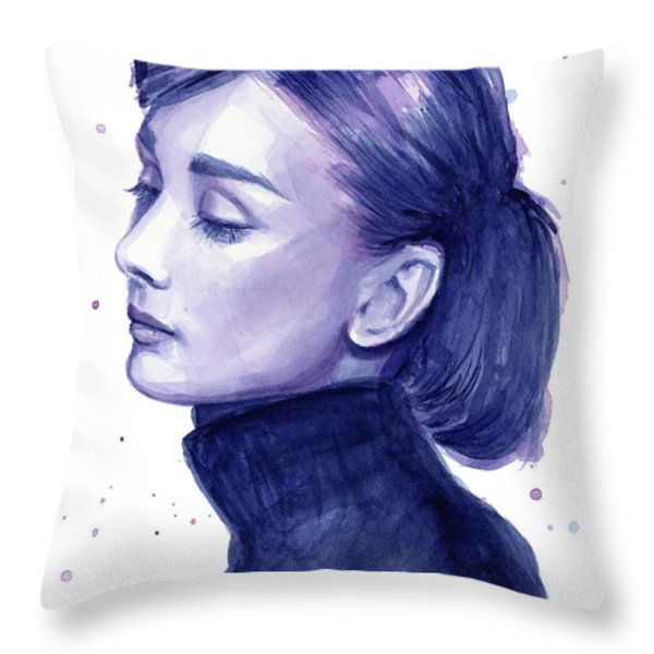 Audrey Hepburn Portrait Throw Pillow by Olga Shvartsur