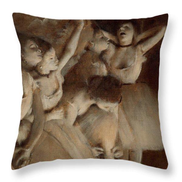 Ballet Rehearsal On Stage Throw Pillow by Edgar Degas