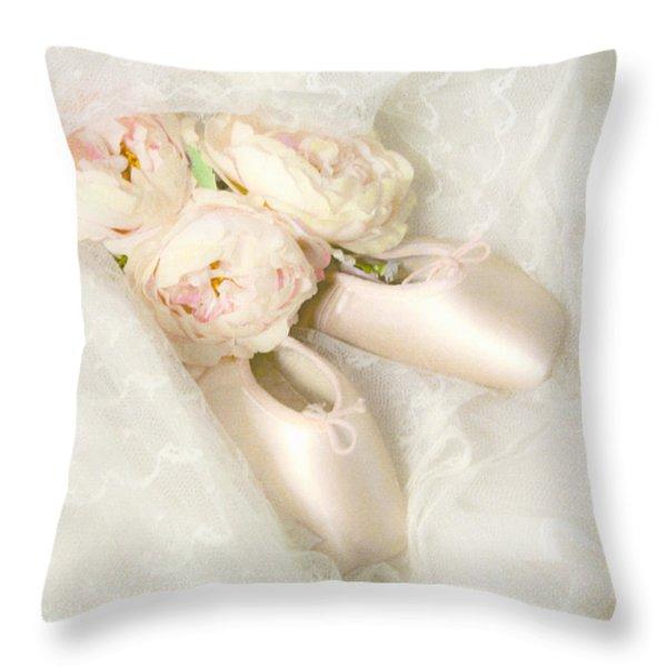 BALLET SHOES Throw Pillow by Theresa Tahara