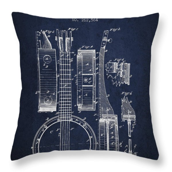 Banjo patent Drawing from 1882 - Blue Throw Pillow by Aged Pixel
