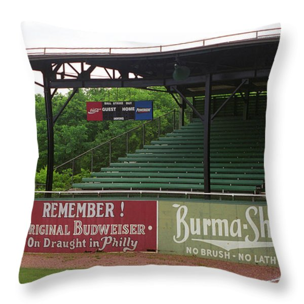 Baseball Field Burma Shave Sign Throw Pillow by Frank Romeo