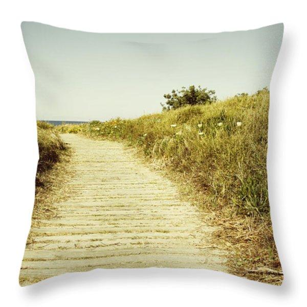 Beach Trail Throw Pillow by Les Cunliffe