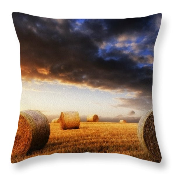 Beautiful hay bales sunset landscape digital painting Throw Pillow by Matthew Gibson