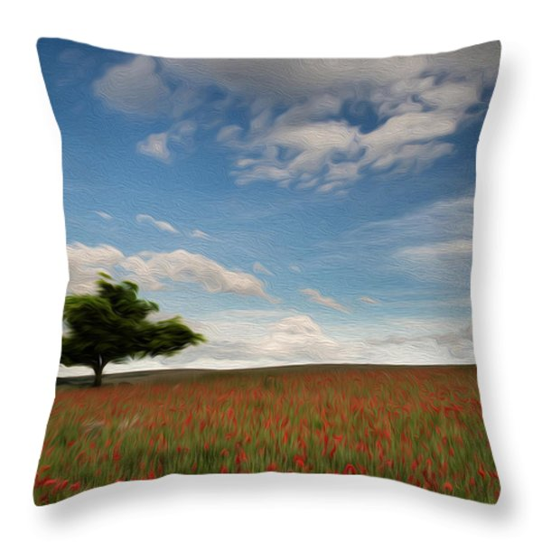 Beautiful Poppy Field Landscape Digital Painting Throw Pillow by Matthew Gibson