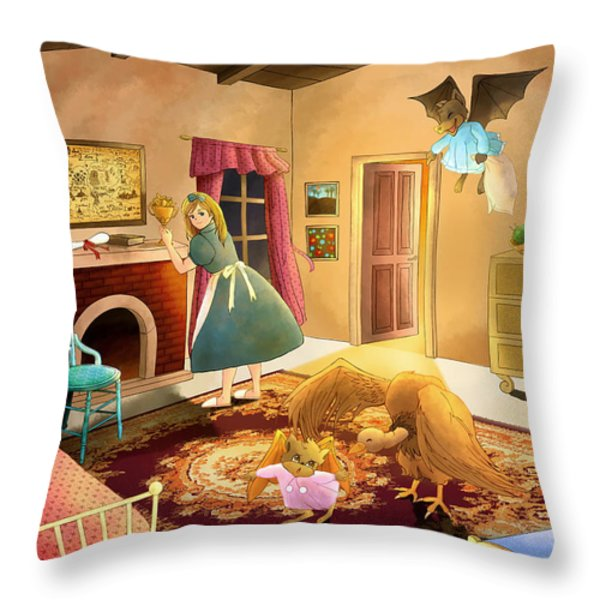 Bedtime With Polly Throw Pillow by Reynold Jay