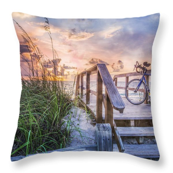 Bicycle at the Beach Throw Pillow by Debra and Dave Vanderlaan