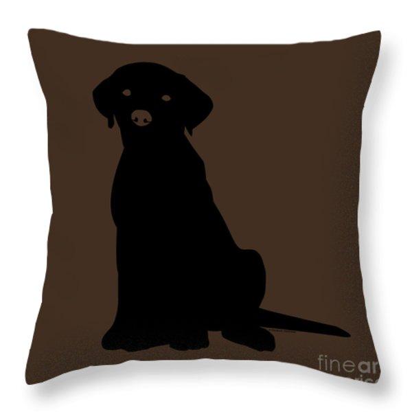 Black Labrador Throw Pillow by Elizabeth Harshman