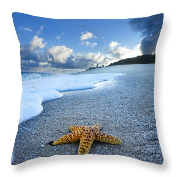 Blue Foam starfish Throw Pillow by Sean Davey