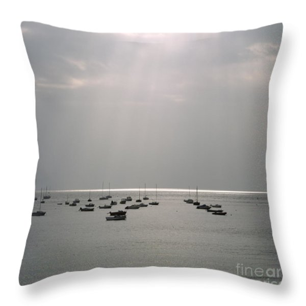 Boats in the sea. Normandy. France. Europe Throw Pillow by BERNARD JAUBERT