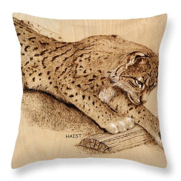 Bobcat Throw Pillow by Ron Haist