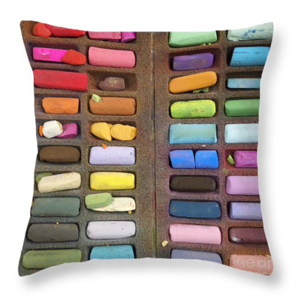 Box Of Pastels Throw Pillow by Bernard Jaubert