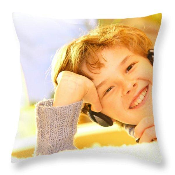 Boy Listen To Music Throw Pillow by Michal Bednarek