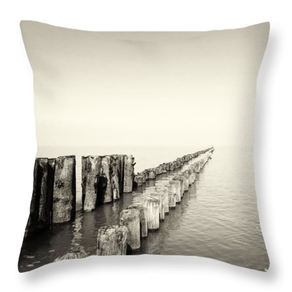Breakwaters Throw Pillow by Wim Lanclus