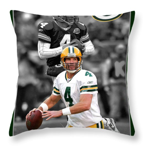 BRETT FAVRE PACKERS Throw Pillow by Joe Hamilton