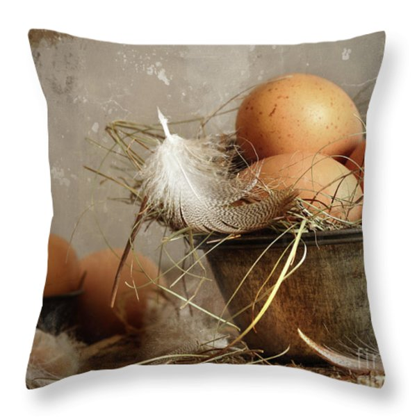 Brown Speckled Eggs  In Old Tin Bowl Throw Pillow by Sandra Cunningham