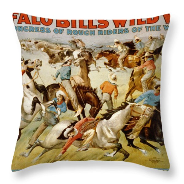 Buffalo Bills Wild West Throw Pillow by Unknown