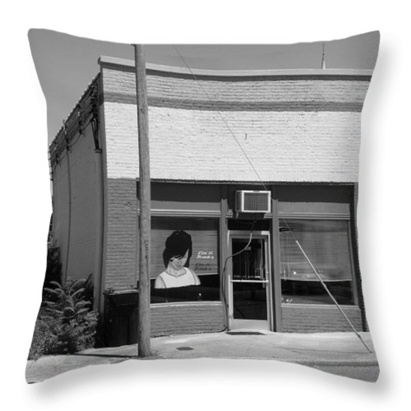 Burlington North Carolina - Small Town Business Throw Pillow by Frank Romeo