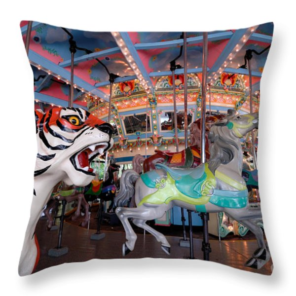 Carousel At Kennywood Park Pittsburgh Pennsylvania Throw Pillow by Amy Cicconi