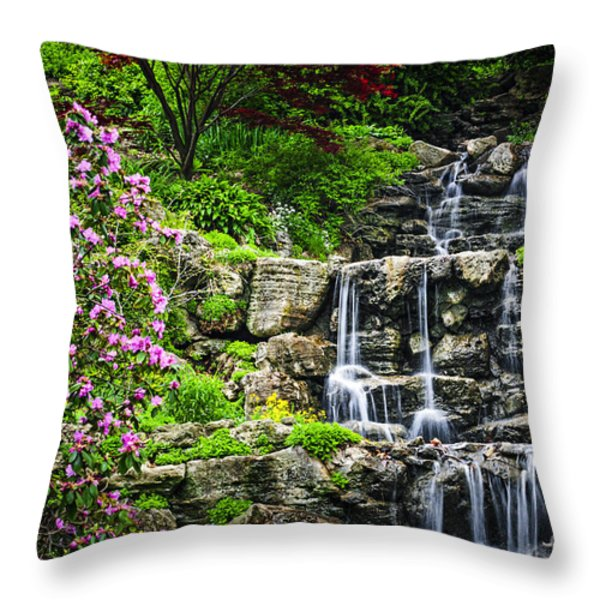 Cascading Waterfall Throw Pillow by Elena Elisseeva