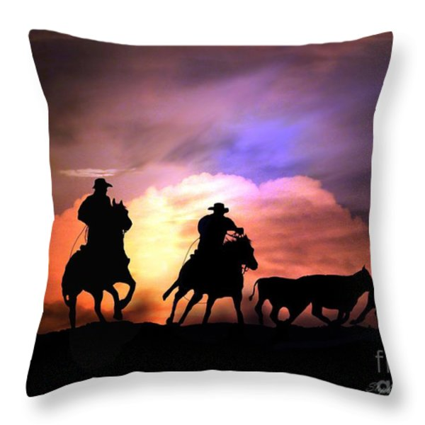 Cattle Drive Throw Pillow by Stephanie Laird