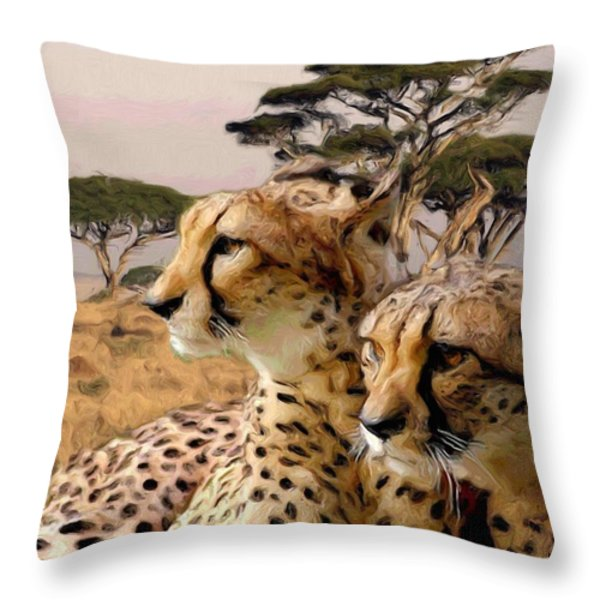 Cheetah Brothers Throw Pillow by Roger D Hale