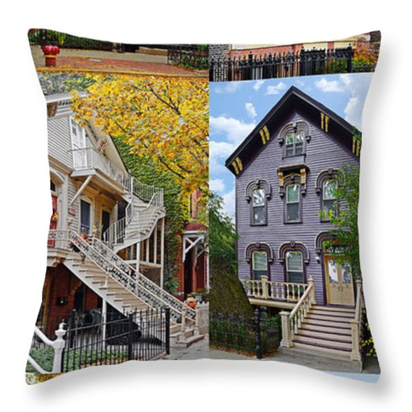 Chicago historic Old Town Triangle Throw Pillow by Christine Till