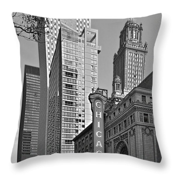 Chicago Theatre - This Theater Exudes Class Throw Pillow by Christine Till