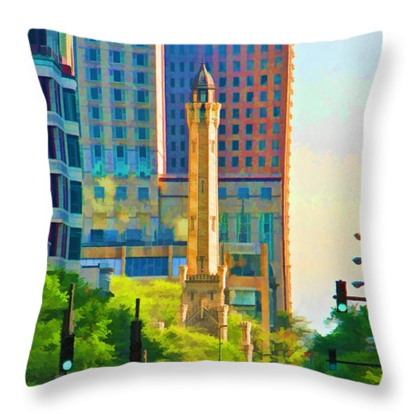 Chicago Water Tower Beacon Throw Pillow by Christopher Arndt