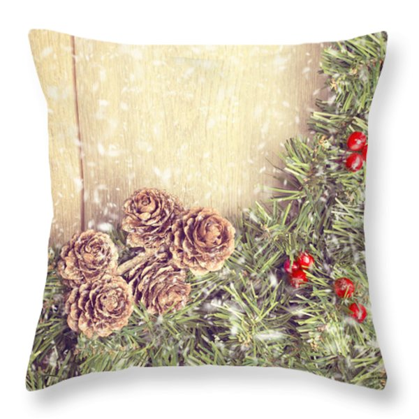 Christmas Garland Throw Pillow by Amanda And Christopher Elwell