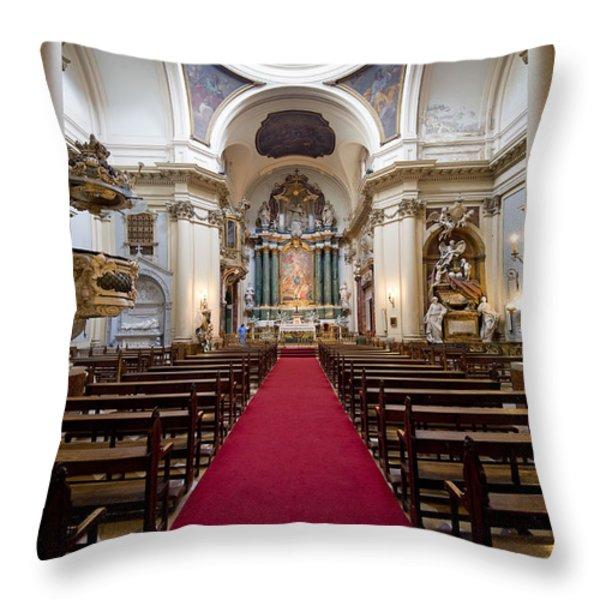 Church of Santa Barbara Interior in Madrid Throw Pillow by Artur Bogacki