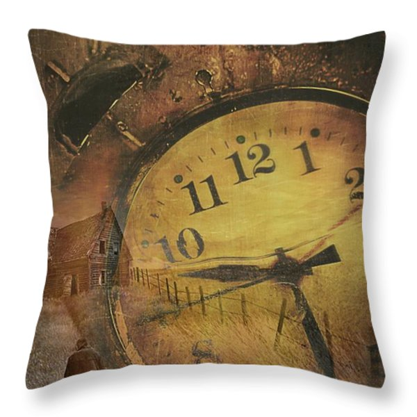 Closeup Of Old Clock Frozen In Ice Throw Pillow by Sandra Cunningham