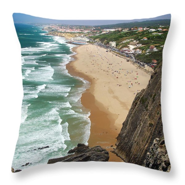 Coastal Cliffs Throw Pillow by Carlos Caetano