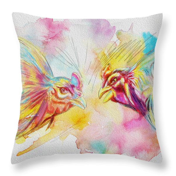 Cock fighting Throw Pillow by Catf
