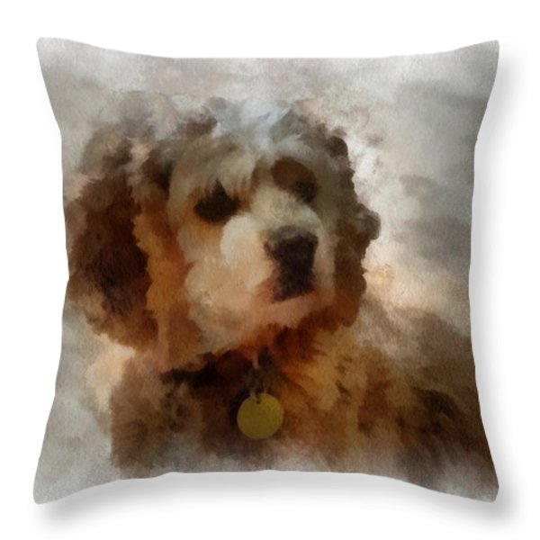 Cocker Spaniel Photo Art 01 Throw Pillow by Thomas Woolworth