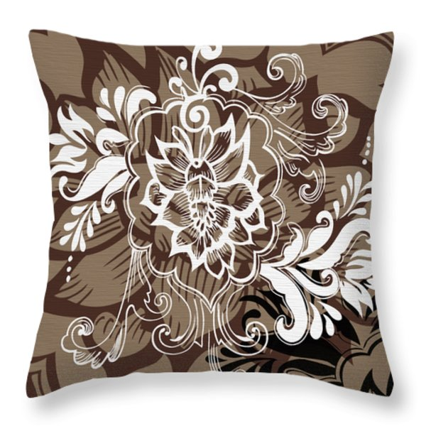 Coffee Flowers 10 Throw Pillow by Angelina Vick
