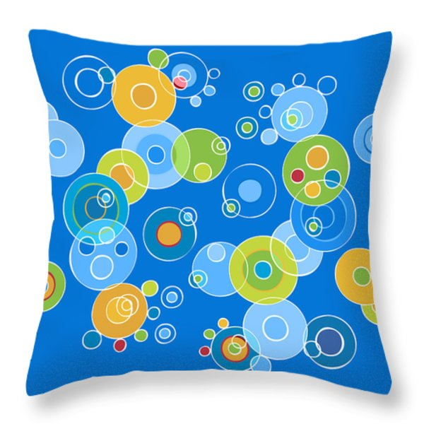 Colorful Circles Throw Pillow by Frank Tschakert