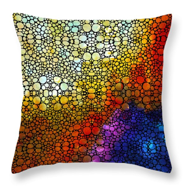 Colorful Stone Rock'd Abstract Art By Sharon Cummings Throw Pillow by Sharon Cummings