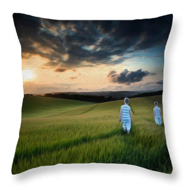Concept landscape young boys walking through field at sunset in  Throw Pillow by Matthew Gibson