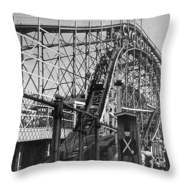 Coney Island - Cyclone Roller Coaster Throw Pillow by MMG Archives