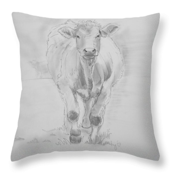 Cow Drawing Throw Pillow by Mike Jory