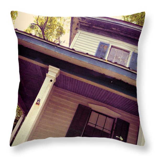 Creepy Old House Throw Pillow by Jill Battaglia