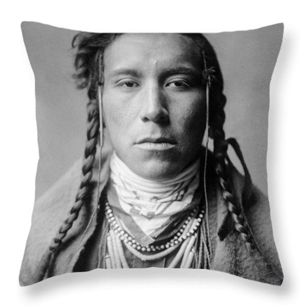 Crow Indian Man circa 1908 Throw Pillow by Aged Pixel