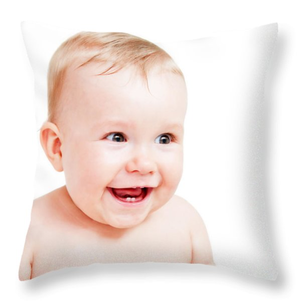 Cute Happy Baby Laughing On White Throw Pillow by Michal Bednarek