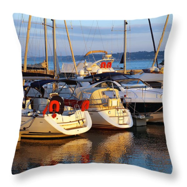 Docked Yachts Throw Pillow by Carlos Caetano