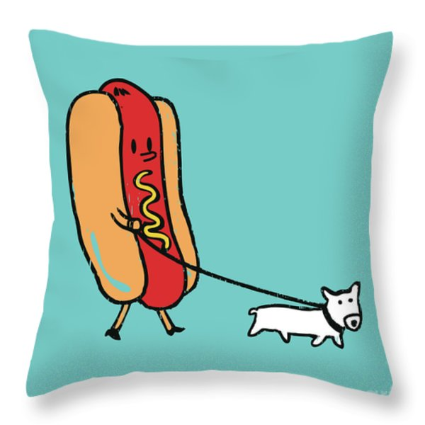 Double Dog Throw Pillow by Budi Satria Kwan