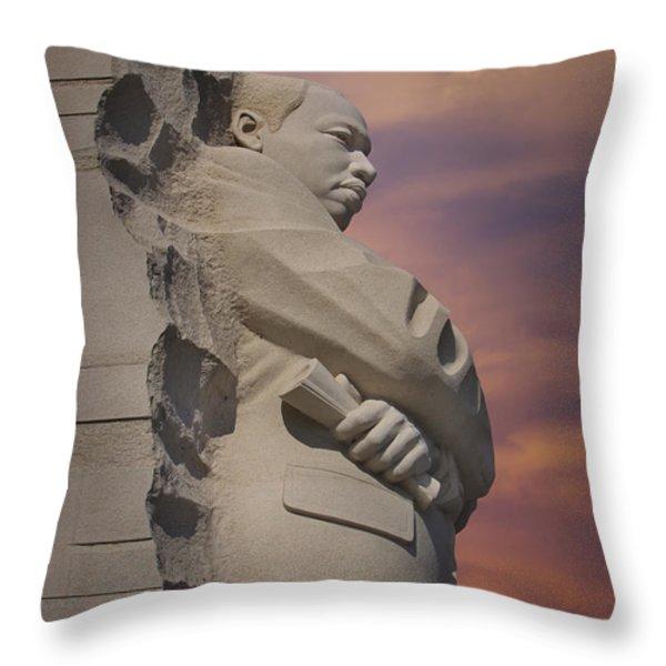 Dr. Martin Luther King Jr Memorial Throw Pillow by Susan Candelario