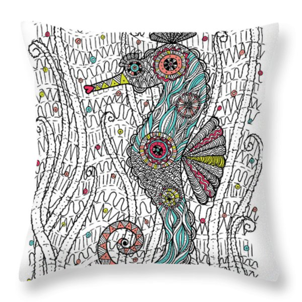 Dream Seahorse Throw Pillow by Susan Claire