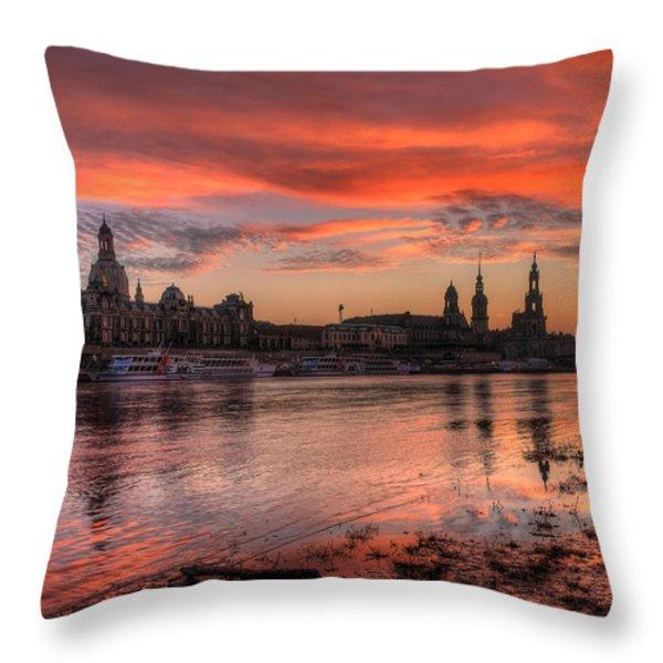 Dresden Sunset Throw Pillow by Steffen Gierok