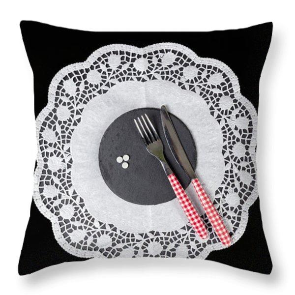 eating pills Throw Pillow by Joana Kruse