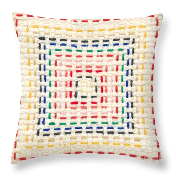 Embroidery made by a child Throw Pillow by Kerstin Ivarsson